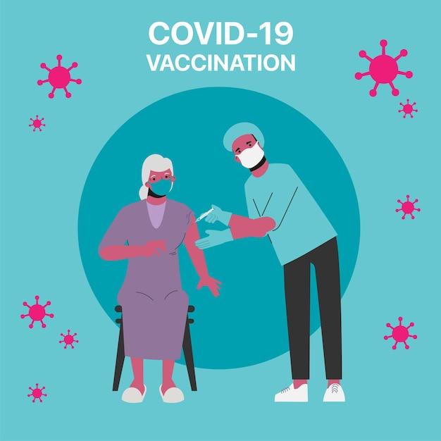 Osoby Starsze Zagrożone Szczepieniem Covid-19 W Szpitalu. Premium Wektorów