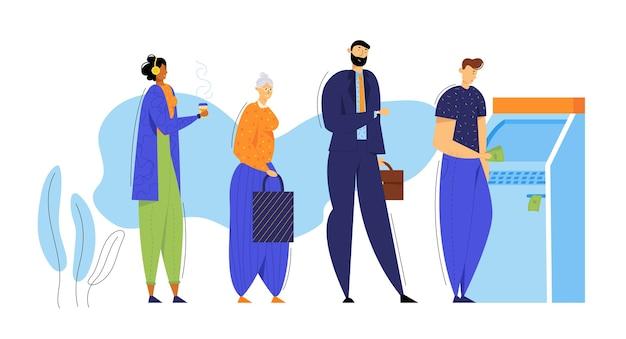 Osoby Stojące W Kolejce W Pobliżu Bankomatu. Koncepcja Transakcji Finansowych. Premium Wektorów