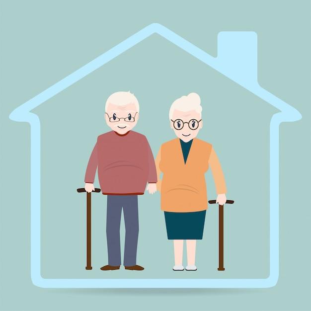 Osoby w podeszłym wieku i ikona domu, znak domu opieki Premium Wektorów