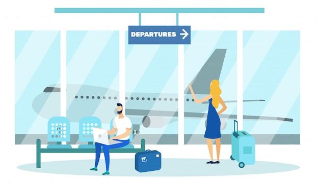 Osoby z bagażem oczekujące na start na lotnisku. Premium Wektorów