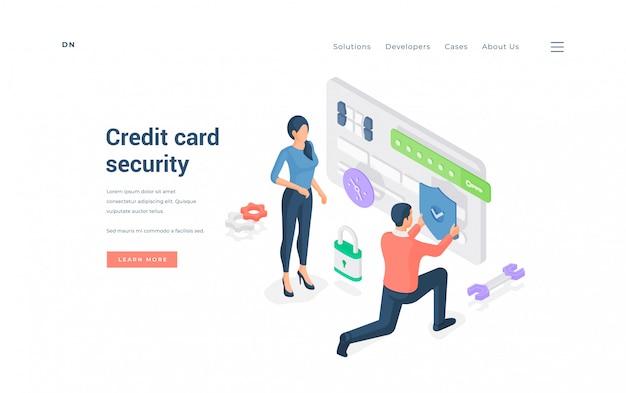 Osoby Z Chronioną Kartą Kredytową. Ilustracja Premium Wektorów