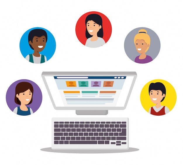 Osoby Z Komunikatem Komputerowym I Sieci Społecznościowej Darmowych Wektorów