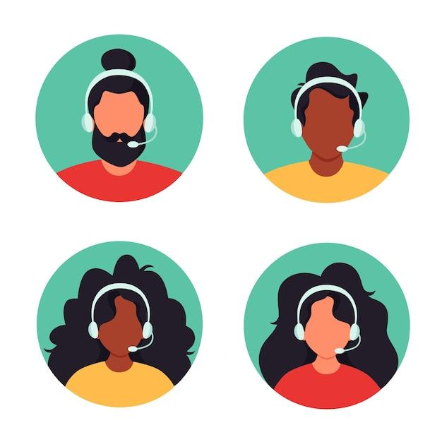 Osoby Ze Słuchawkami, Obsługa Klienta, Asystent, Wsparcie, Call Center Premium Wektorów