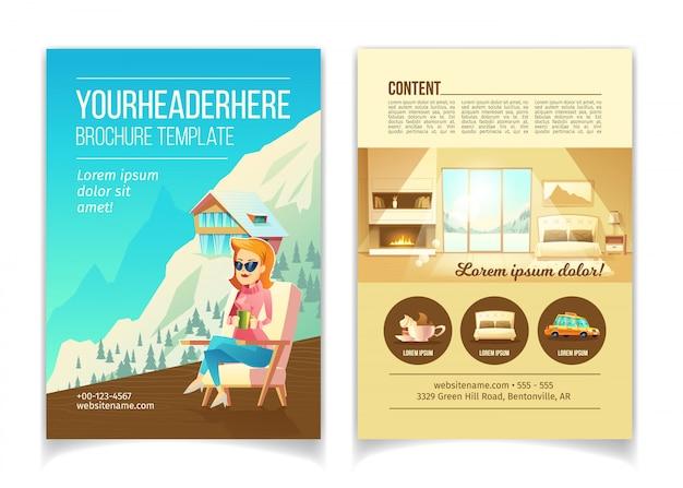 Ośrodek narciarski luksusowy hotel kreskówka wektor reklama broszura, szablon broszura promocyjna. kobieta siedzi i Darmowych Wektorów