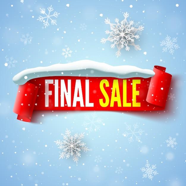 Ostateczny Baner Sprzedaży Z Czerwoną Wstążką, Czapką śnieżną I Płatkami śniegu. Premium Wektorów