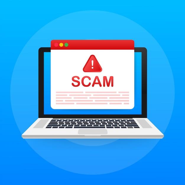 Ostrzeżenie O Oszustwie. Atak Hakerów I Bezpieczeństwo Sieci, Oszustwa Phishingowe. Bezpieczeństwo Sieci I Internetu. Ilustracja. Premium Wektorów