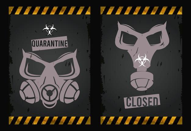Ostrzeżenie Przed Niebezpiecznym Wirusem Z Maskami Premium Wektorów
