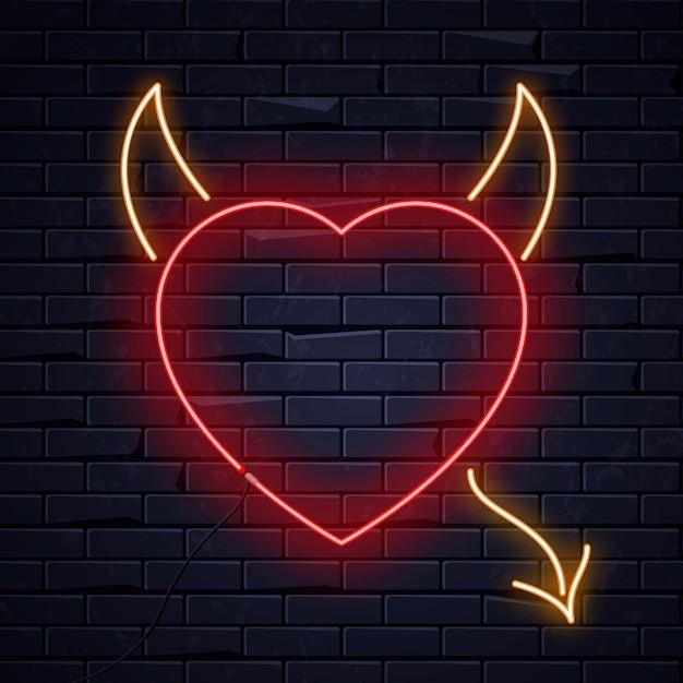 Oświetlone neonowe serce miłości Premium Wektorów