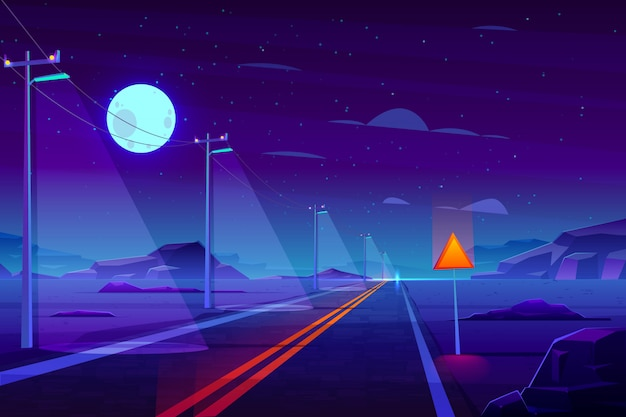Oświetlone w nocy, pusta droga autostradowa w pustynnej kreskówce Darmowych Wektorów