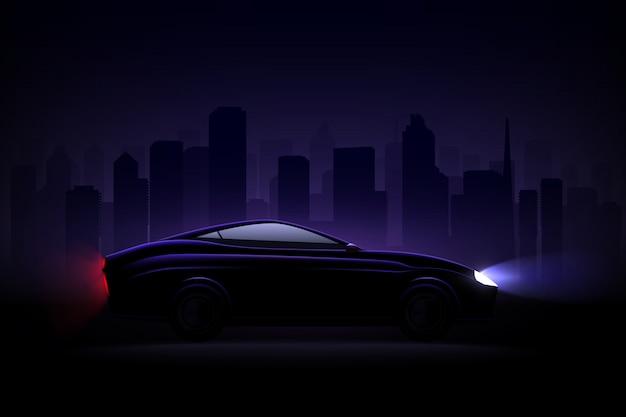 Oświetlony Luksusowy Sedan Na Tle Nocnego Miasta Z Zapalonymi Reflektorami I Tylnymi światłami Tylnymi Darmowych Wektorów