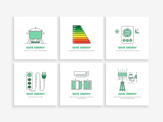 Oszczędzaj Energię W Domu Premium Wektorów