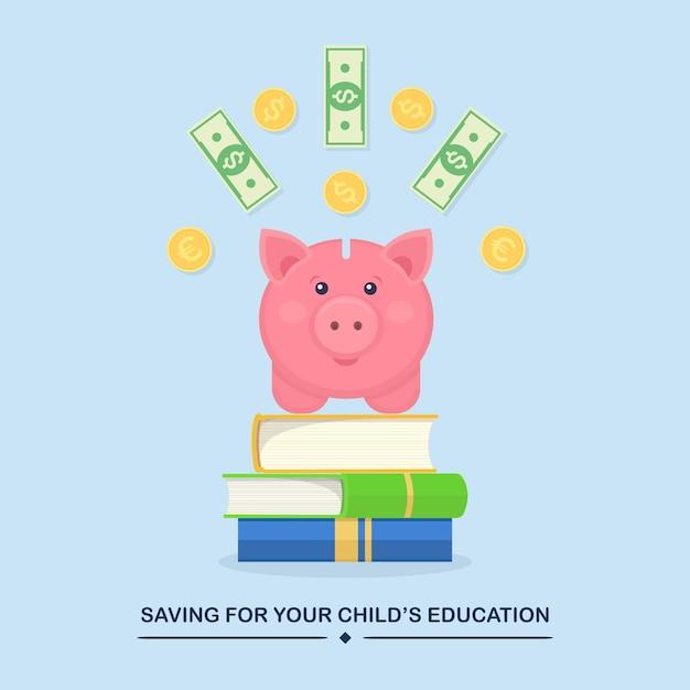 Oszczędzanie Dla Swoich Dzieci Ilustracja Edukacji Childs Ze Skarbonką Z Monetami I Banknotami Na Książkach Premium Wektorów