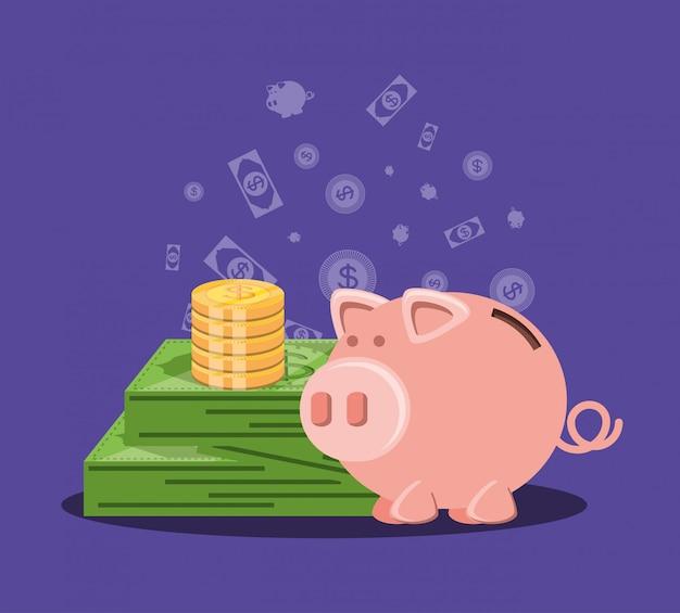 Oszczędzanie świnka Z Pieniędzmi I Dolara Rachunku Premium Wektorów