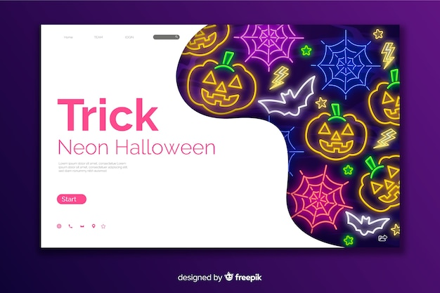 Oszukać stronę docelową neon halloween Darmowych Wektorów
