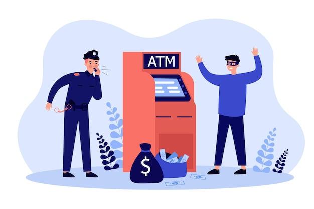 Oszustwo Atakujące Bankomat. Policjant łapie Przestępcę W Masce W Bankomacie Premium Wektorów