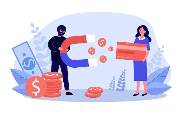 Oszustwo Kradzież Pieniędzy Z Ilustracji Karty Kredytowej Premium Wektorów