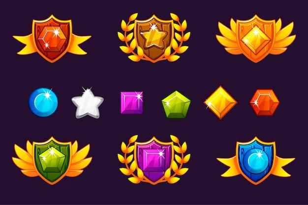 Otrzymanie Osiągnięcia Awards Shield I Gems Set, Różne Nagrody. Premium Wektorów