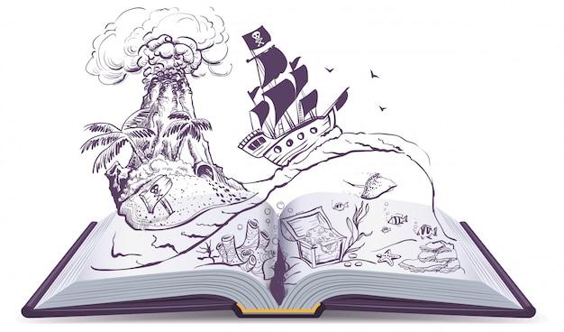 Otwarta książka o piratach i skarbach. pirat na żaglówce pływa na falach. wyspa skarbów Premium Wektorów