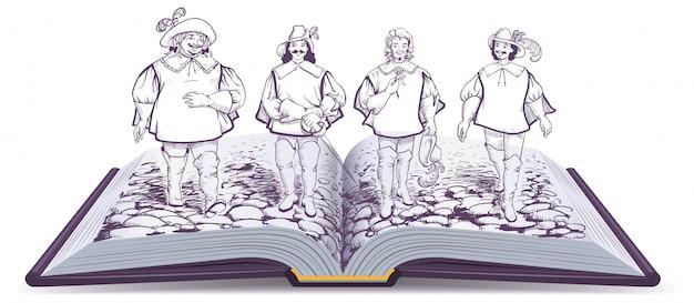 Otwarta Książka Powieść Historyczna Ilustracja O Trzech Muszkieterach Premium Wektorów