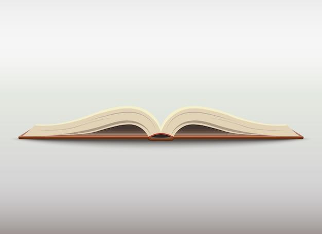 Otwarta Książka Z Pustymi Stronami. Ilustracja Edukacji Szkolnej. Premium Wektorów
