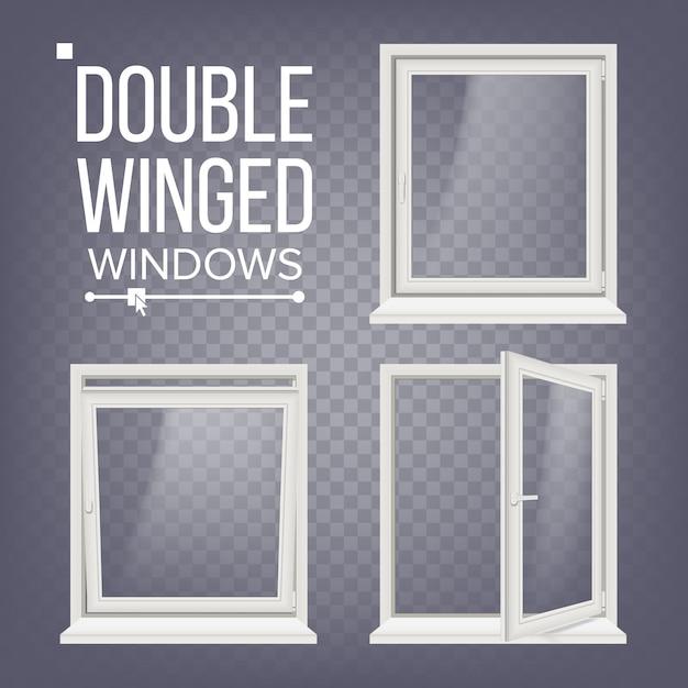 Otwarte i zamknięte plastikowe okno pcv Premium Wektorów