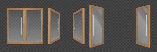 Otwarte I Zamknięte Szklane Drzwi Z Drewnianymi Ramami Darmowych Wektorów