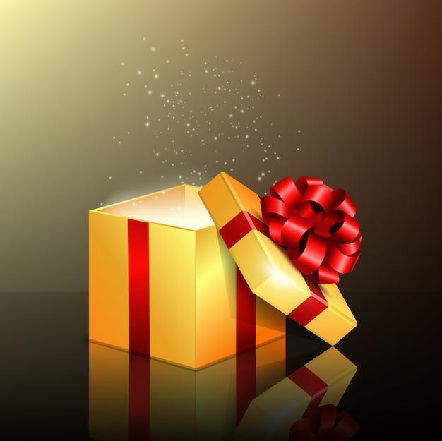 Otwarte Pudełko Z Czerwoną Wstążką Premium Wektorów