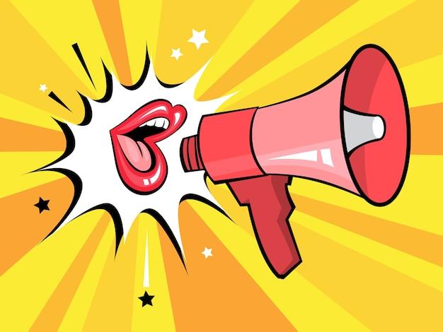 Otwarte Usta Z Dymkiem Promują Biznes. Plakat Retro Pop-artu Z Seksownymi Czerwonymi Ustami Kobiet I Megafonem. Ilustracja Premium Wektorów