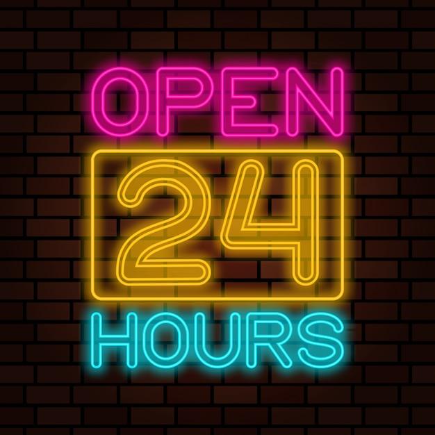 Otwarty 24 godziny neon Premium Wektorów