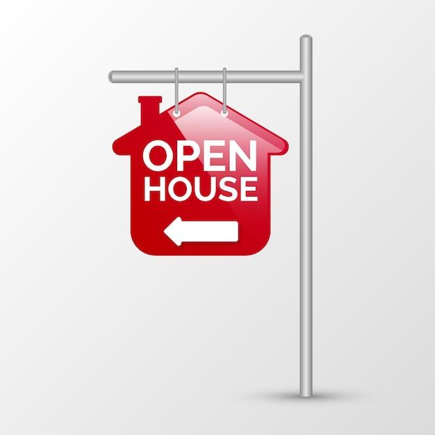 Otwarty Dom Czerwony Znak Z Kierunkiem Darmowych Wektorów