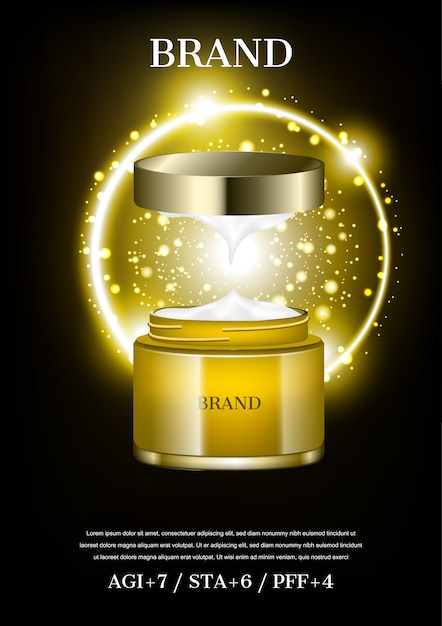 Otwarty Krem Kosmetyczny Z Małymi świecącymi Kulkami Na Złotym Tle Koła Premium Wektorów