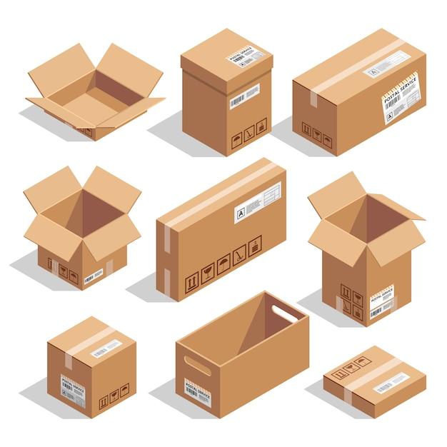 Otwieranie i zamykanie pudeł kartonowych. zestaw ilustracji izometryczny Premium Wektorów