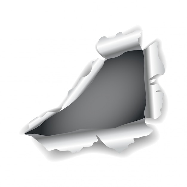 Otwór Na Papier. Realistyczne Wektor Rozdarty Papier Z Poszarpanymi Krawędziami. Uszkodzony Papier Ze Złożonymi Bokami Premium Wektorów