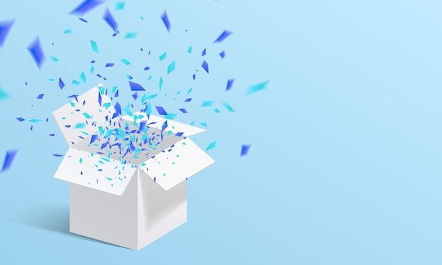 Otwórz Białe Pudełko I Konfetti Ilustracja Premium Wektorów