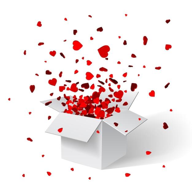 Otwórz Białe Pudełko Upominkowe I Konfetti. Boże Narodzenie Tło. Ilustracja. Premium Wektorów