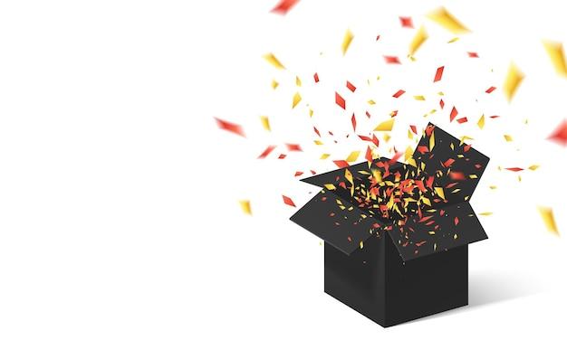 Otwórz Czarne Pudełko Upominkowe I Konfetti. Premium Wektorów