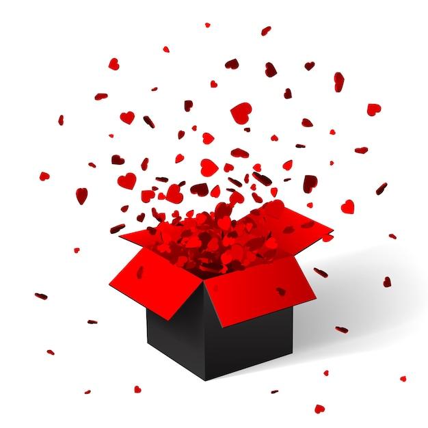 Otwórz Czerwone Pudełko I Konfetti. Boże Narodzenie Tło. Ilustracja. Premium Wektorów