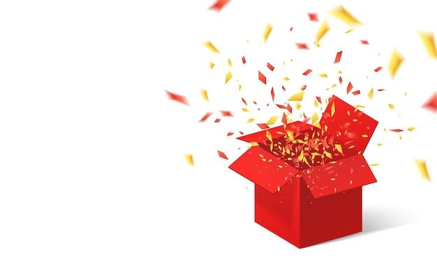 Otwórz Czerwone Pudełko I Konfetti. Premium Wektorów