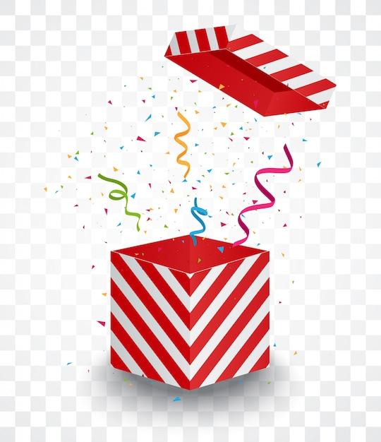 Otwórz Czerwone Pudełko Z Rozerwanymi Kolorowymi Konfetti Premium Wektorów