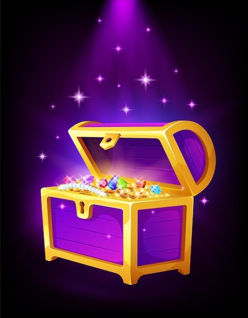 Otwórz Fioletową Skrzynię Ze Złotymi Monetami I Biżuterią W środku, Pieniędzmi, Skarbami I Kamieniami Szlachetnymi Premium Wektorów