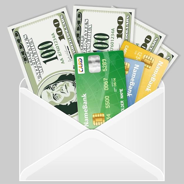 Otwórz kopertę z banknotami dolarowymi i kartami kredytowymi Premium Wektorów