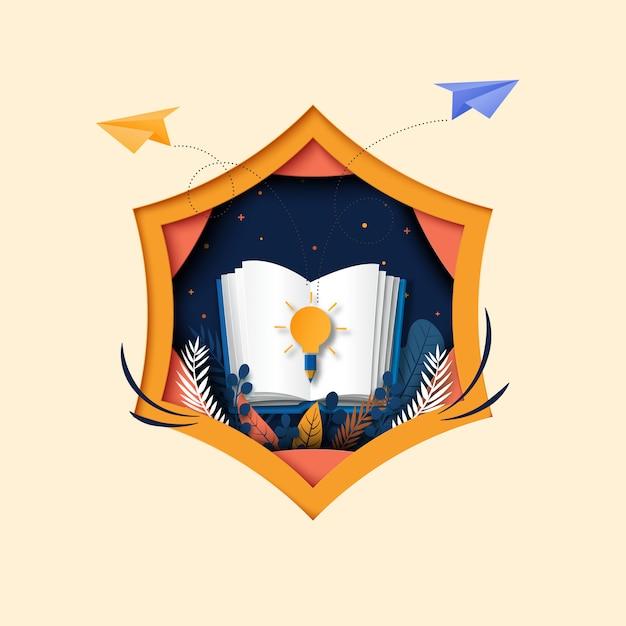 Otwórz książkę z nauką, edukacją i eksploruj papierową sztukę w tle. Premium Wektorów
