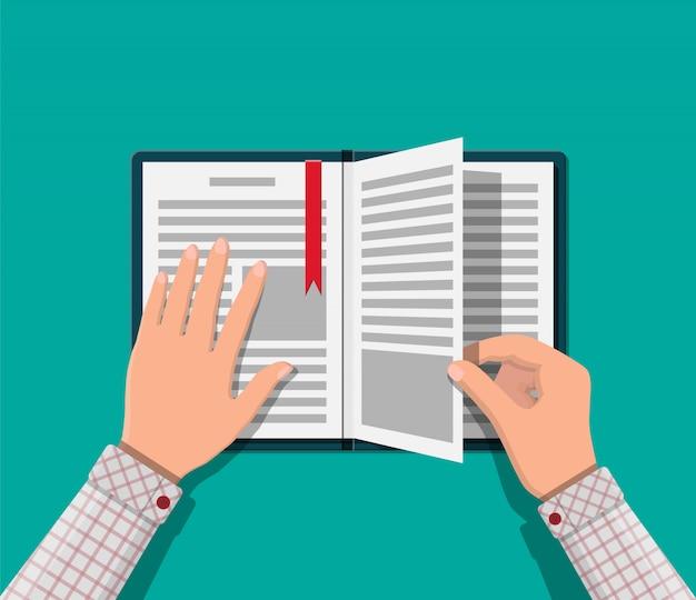 Otwórz Książkę Ze Stroną Do Góry Nogami I Zakładką. Premium Wektorów