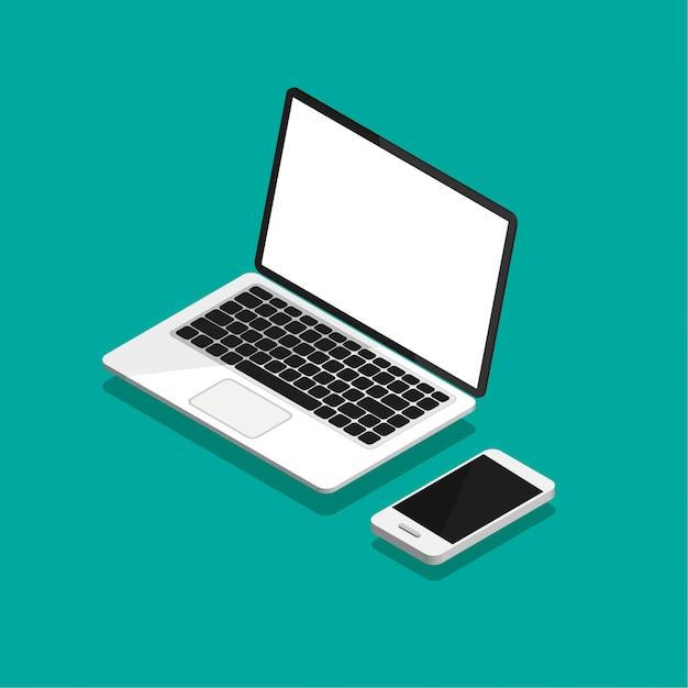 Otwórz Laptopa I Smartfona W Rzucie Izometrycznym. Pusty Lub Pusty Ekran Wyświetlacza. Komputerowy Egzamin Próbny Up Odizolowywający Na Fiołkowym Tle. Sprzęt Do Biura. Ilustracja. Premium Wektorów