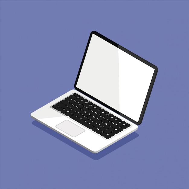 Otwórz Laptopa W Rzucie Izometrycznym. Pusty Lub Pusty Ekran Wyświetlacza. Komputerowy Egzamin Próbny Up Odizolowywający Na Fiołkowym Tle. Sprzęt Do Biura. Ilustracja. Premium Wektorów