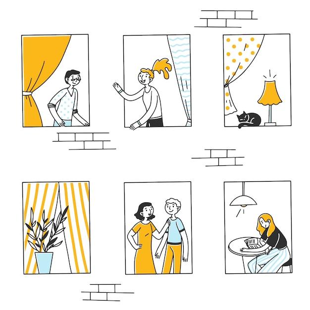 Otwórz Okna Z Ludźmi I Kotem W Mieszkaniach Premium Wektorów
