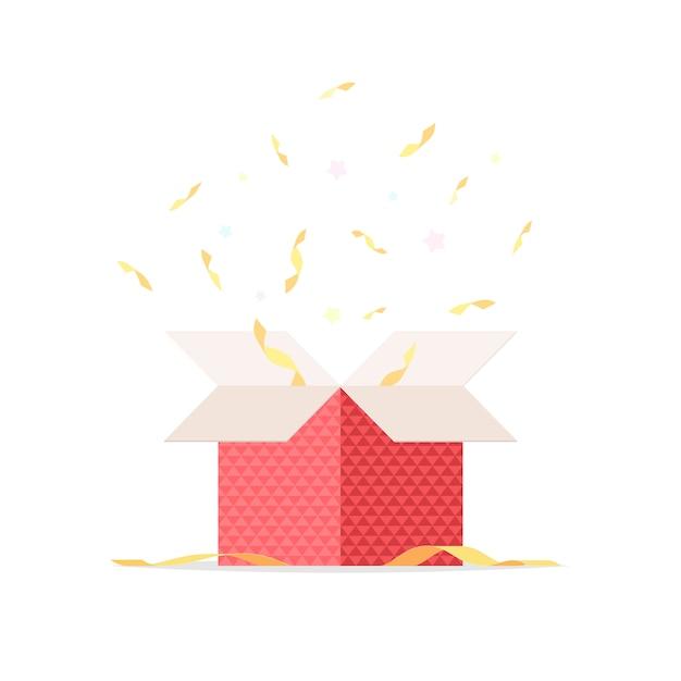 Otwórz Pudełko Z Konfetti Premium Wektorów