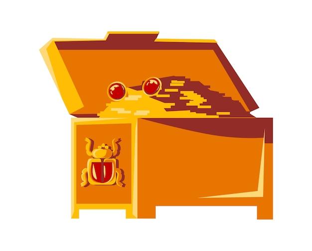 Otwórz Skrzynię Vintage Ze Złotymi Monetami I Symbolem Egipskiego Skarabeusza, Ilustracja Kreskówka Wektor Skarb Faraona Darmowych Wektorów