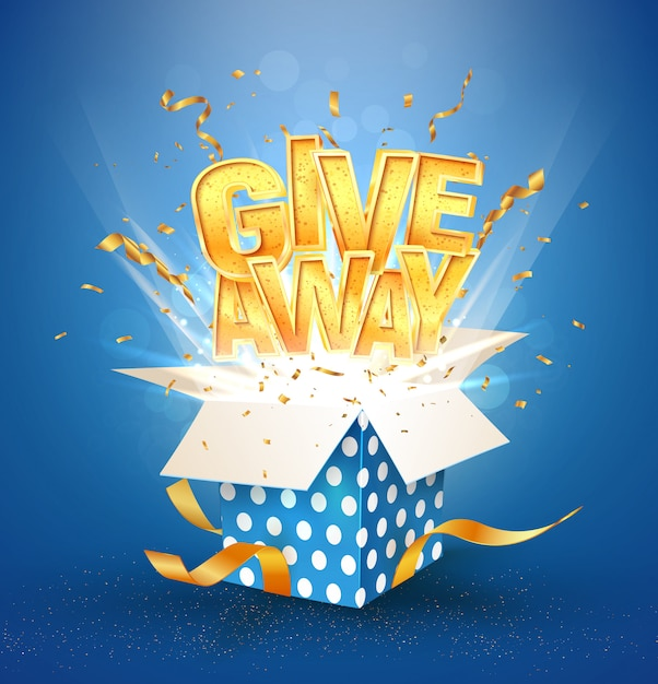 Otwórz Teksturowane Niebieskie Pudełko Z Gratisowym Złotym Słowem. Zwycięskie świętowanie. Premium Wektorów