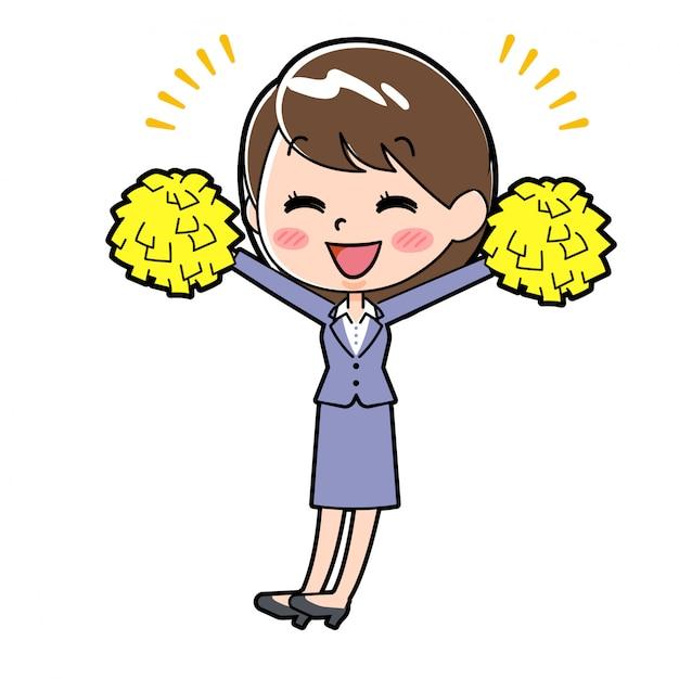 Out line biznes kobieta cheer hands up Premium Wektorów